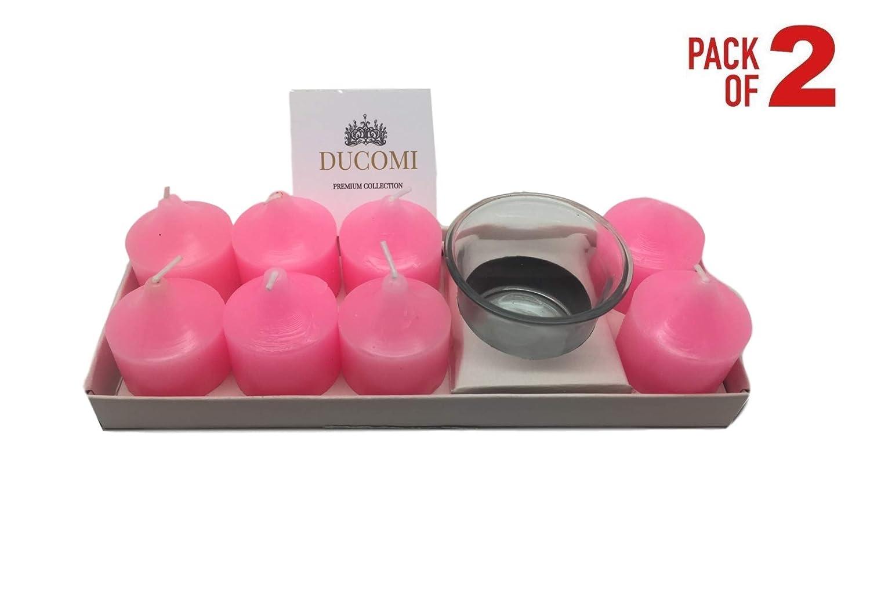 Ducomi Candele Profumate alla Lavanda con Porta Candela - Set di 8 Candele Colorate Decorative con Essenze Naturali - Brucia Fino a 12 Ore (Lavanda)