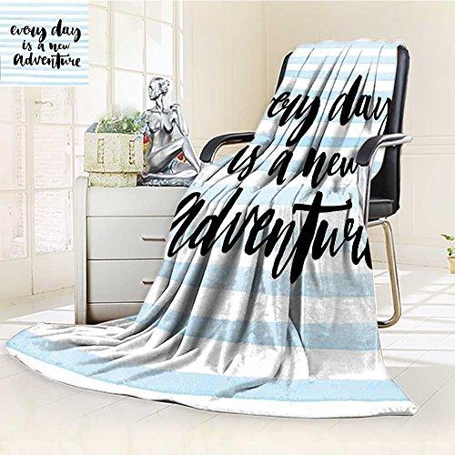 AmaPark Custom Design Cozy Flannel Blanket New Adventure Calligraphy Text Stripes Print Custom Design Cozy Flannel Blanket free shipping