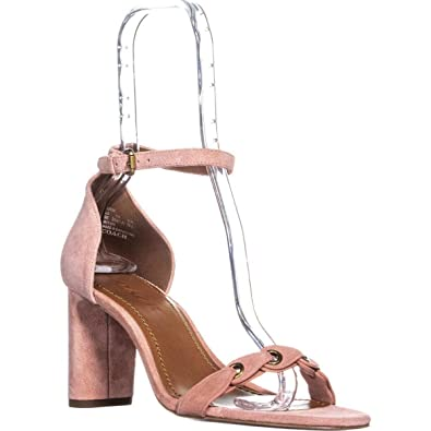 19a0230028125 Coach Women s Heel Sandal Peony Link Leather Suede 6.5 ...