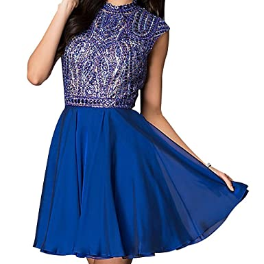 Homecoming Dresses Short Chiffon Beaded Crystal Prom Dresses High-Neck A-Line Backless