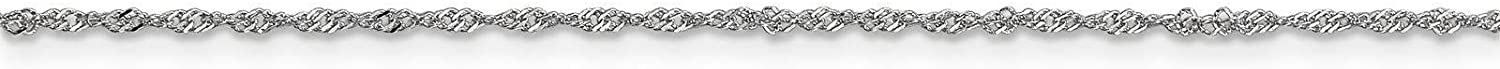14k White Gold 1.1mm Singapore Chain Necklace 14-30