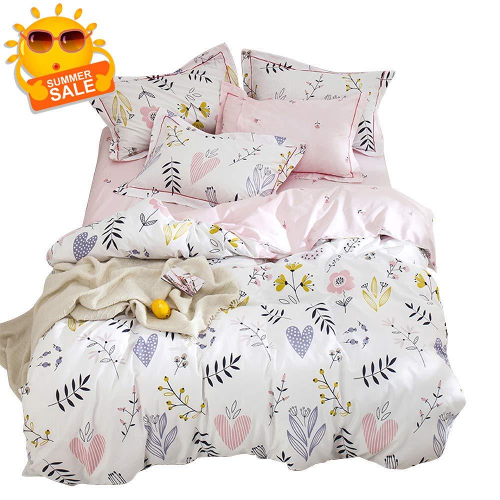 BuLuTu Floral Love Print Girls Duvet Cover Full White/Pink Cotton Premium Blossom Kawaii Reversible Colorful Kids Bedroom Comforter Cover Queen Bedding Sets for Teen,Lightweight,Zipper,NO Comforter