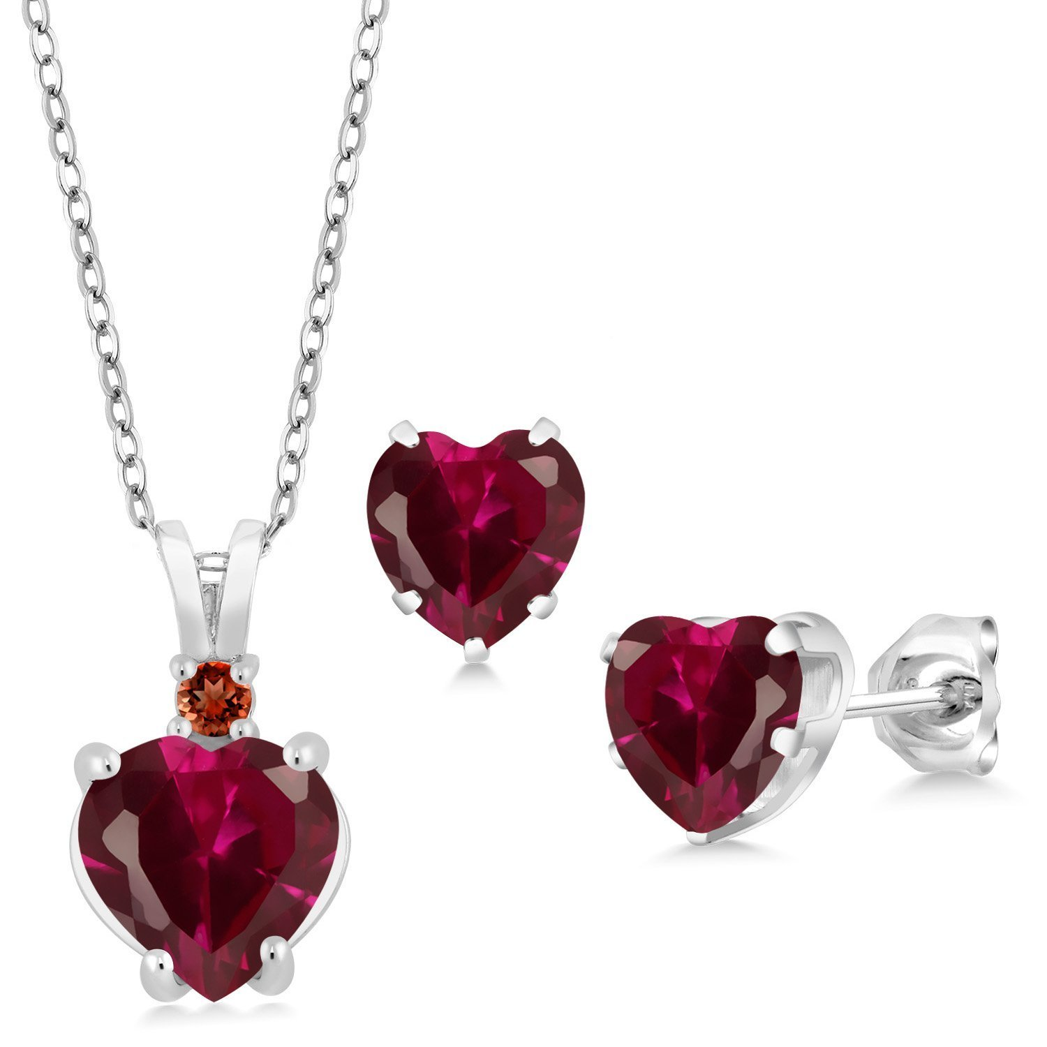 Women's Red Heart Shape Lab Created Ruby 925 Sterling Silver Pendant Earrings Set - DeluxeAdultCostumes.com