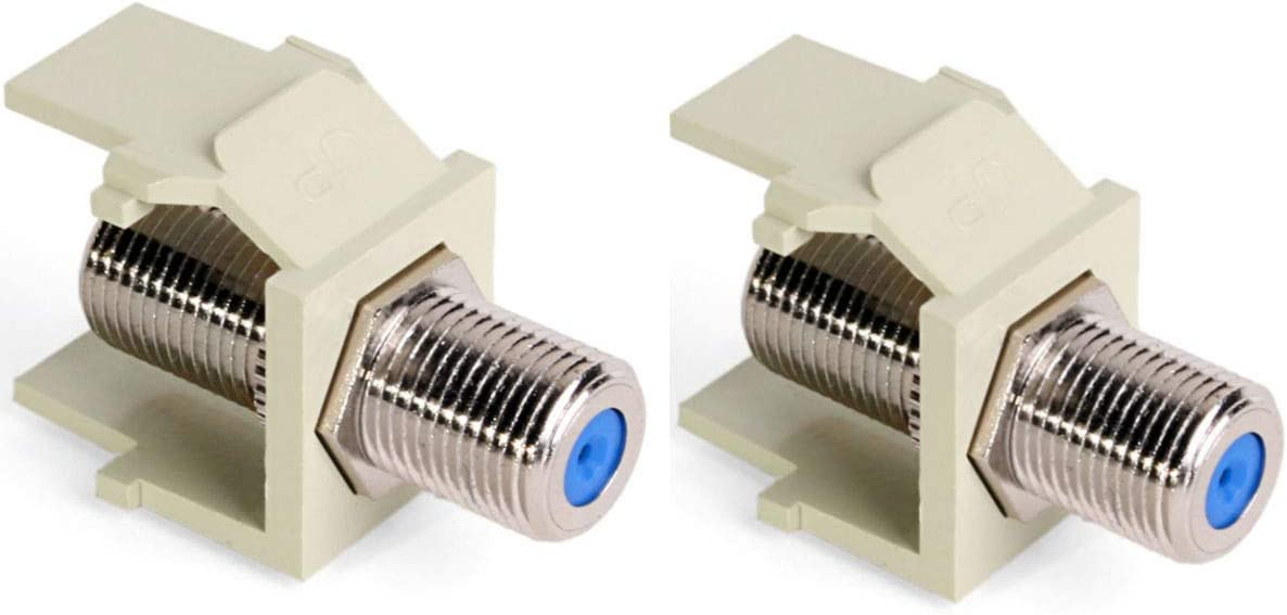 Nickel-Plated Pack of 2 Leviton 41084-FIF QuickPort F-Type Adapter Ivory
