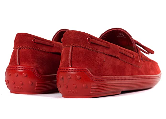 b21abe8182f Amazon.com   Tod's Men's Red Suede Red Sole Front Tie Moccasins UK9 ...