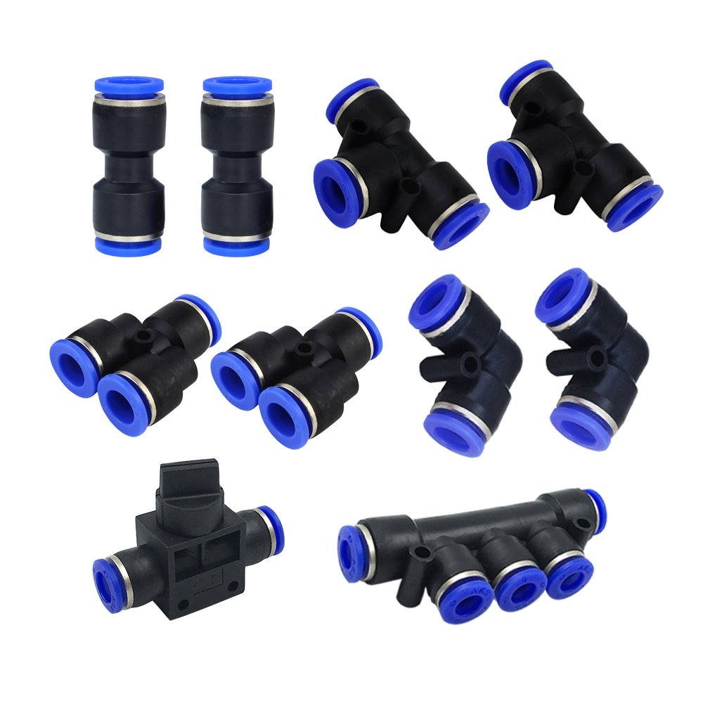 Metalwork Plastic 6mm 1/4'' OD Push To Connect Fittings Pneumatic Fittings Kit 2 Spliters+2 elbows+2 tee+2 Straight Union+1 Manifold+1 Hand Valves Ultimate Professional Set 10 Pack (6mm Combo)