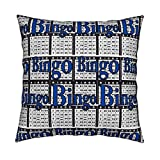 Roostery Bingo Linen Cotton Throw Pillow Cover Bingo Black Paper with Bingo Text by Dd BAZ Cover Only