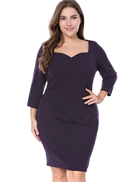 Agnes Orinda Womens Plus Size 34 Sleeve Sweetheart Party Sheath