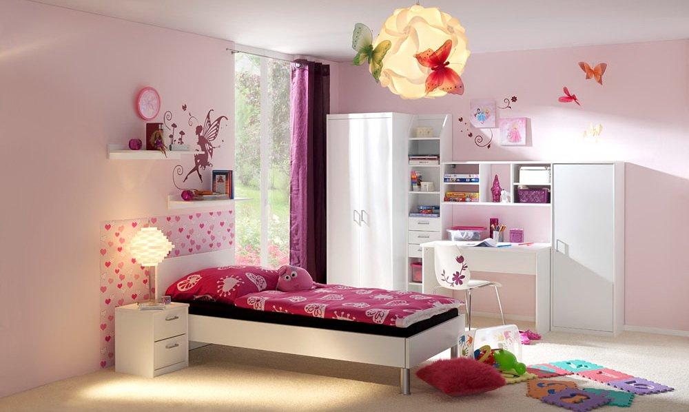 lifestyle4living 4-TLG. Jugendzimmer in Weiß, Kleiderschrank B: 72 cm, Bett 90 x 200 cm Liegefläche, Schreibtisch B: ca. 106 cm, Nachtschrank B: ca. 38 cm