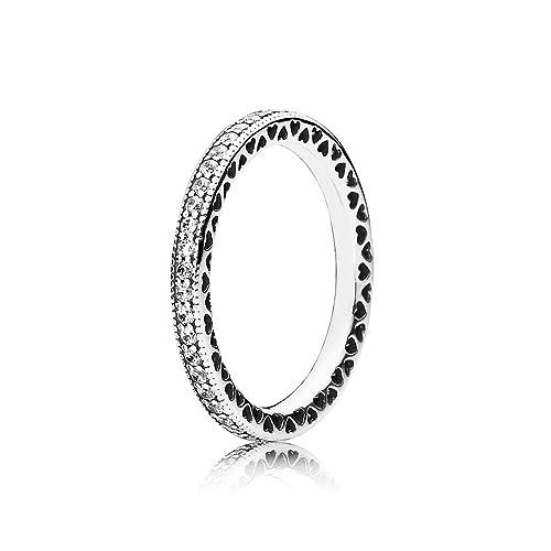 comprare popolare 9195d ba237 Pandora, 190963CZ, anello da donna, Eternal Heart, in argento Sterling 925,  con zirconi cubici trasparenti