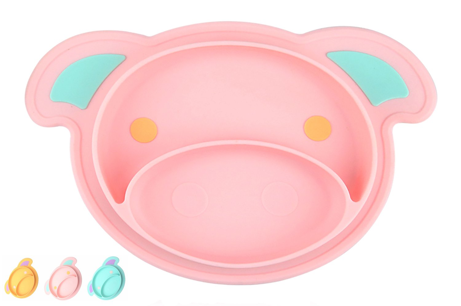 Toddler Suction Plate and Bowl That Stick to highChair Tray, Non Slip Silicone Feeding Placemat for Babies, Infant, Divided Baby Dishes, Perfect Kids Plates, Dishwasher, Microwave Safe (Pink)