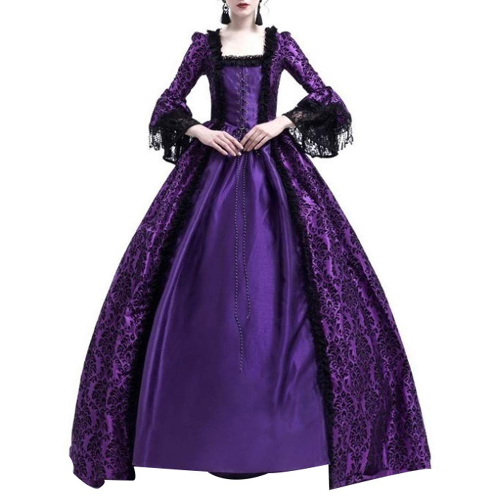 dwqPA#Pi Medieval Renaissance Queen Ball Gown Vintage Women Bell Sleeve Maxi Dress Halloween Costume Purple XL