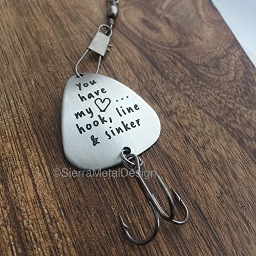Custom Fishing Lures (You have my Heart... Hook, Line & Sinker Fishing Lure Husband Fishing Lure Custom Fishing Lure Engraved For Him Mens Fishing Lure, Hook, Line and Sinker Gift Lure)