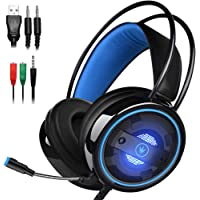 DLAND Gaming Headset with Mic and Changeable LED Light for Laptop Computer, Cellphone, PS4 and Son on, 3.5mm Wired Noise…