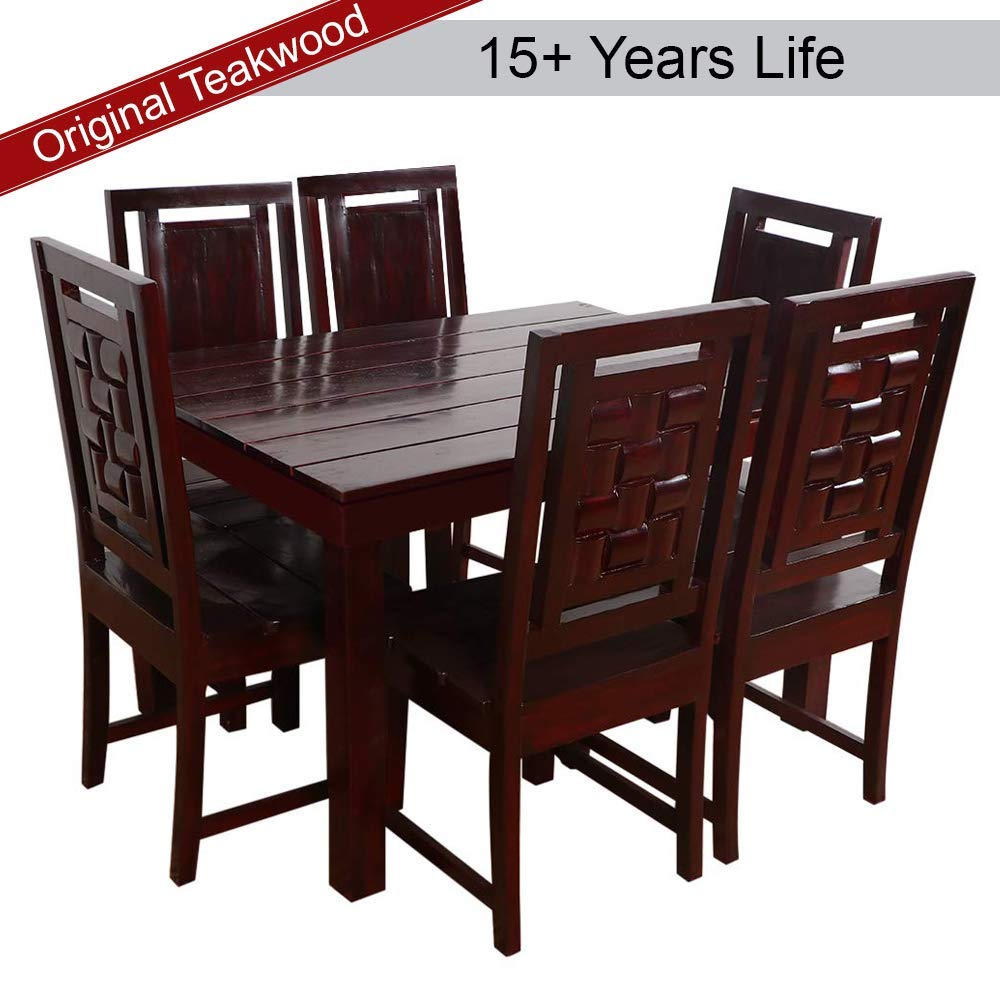 Furny Duron Teak Wood 6 Seater Dining Table Set - Mohgany Polish