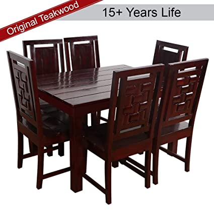 Furny Duron Teak Wood 6 Seater Dining Table Set Mohgany Polish Amazon In Home Kitchen
