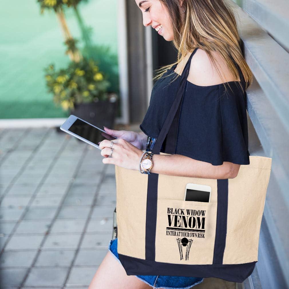 Canvas Shopping Tote Bag Black Widow Venom Enter Your Own Risk Halloween Black Widow Beach for Women