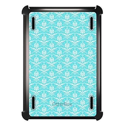 (DistinctInk Case Compatible with iPad Mini 1/2 / 3 - Custom Black OtterBox Defender with Stand, Screen Protector - Baby Blue White Damask Pattern - Floral Damask Pattern)