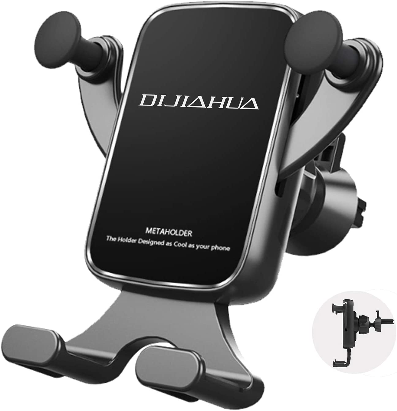 DIJIAHUA Car Phone Mount Holder Rotatable Air Vent Cell Phone Holder for Car Compatible With iPhone 11 Pro XR X 8 7 Galaxy S10 9 8 7 LG Goole ZET Moto and More Gravity Automatic Locking Phone Holder