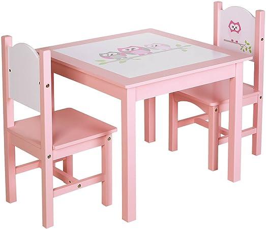 SONGMICS ULKF01PK - Juego de mesa y 2 sillas de madera para niños ...
