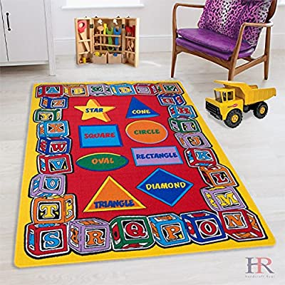 Hr 7ft.4in X 10ft.4in Abc Shapes Kids Educational Non-slip Rug(8ftx11ft). Please Check All The Pictures