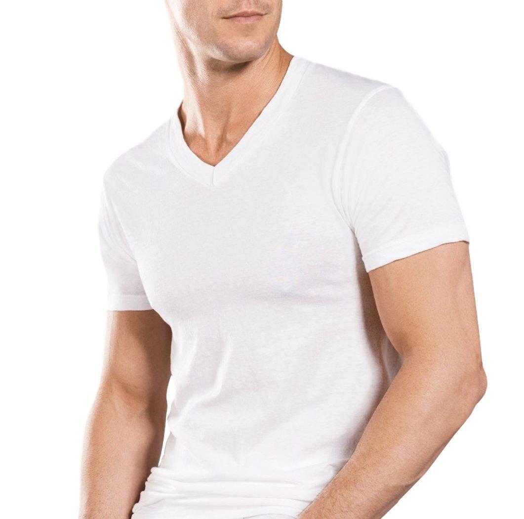 Stafford Mens Tall/Extra Tall Blended Cotton V-Neck Undershirt 4-Pack (XL/T)