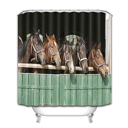 LB Caballo Animal Caballo cobertizo Cortina de baño para baño Set de Cortinas de Ducha con