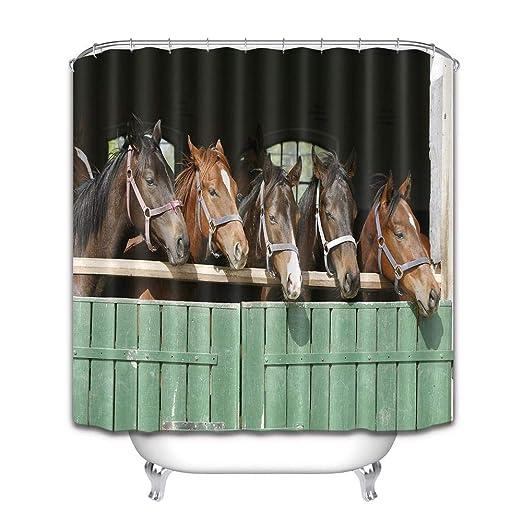LB Caballo Animal Caballo cobertizo Cortina de baño para baño Set de Cortinas de Ducha con 12 Ganchos estanco de poliéster antimoho 150x180