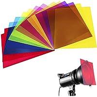 Paquete de 14 hojas de plástico de color superposiciones de transparencia, gel corrección, filtro de luz, 21.7 x 27.8 cm…