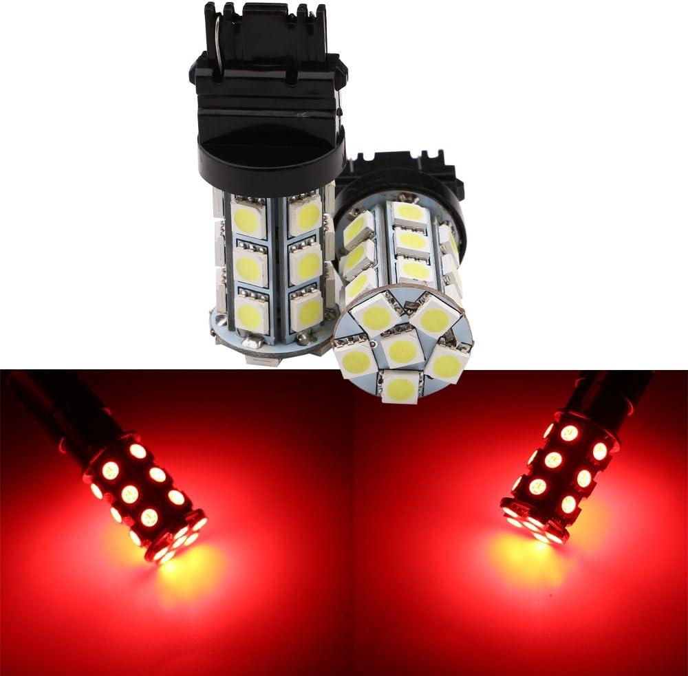Pack of 4 Grandview Red BAY15D 1157 Base LED Bulbs 5050 24 SMD LED Replacement Bulb RV SUV MPV Car Turn Tail Signal Brake Light Lamp Backup Lamps Bulbs Car Exterior Lights