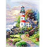 5D Diamond Painting, Staron Lighthouse Diamond Embroidery Painting DIY Cross Stitch Kit 5D Diamond Painting Crystals Embroidery Home Decor (D)