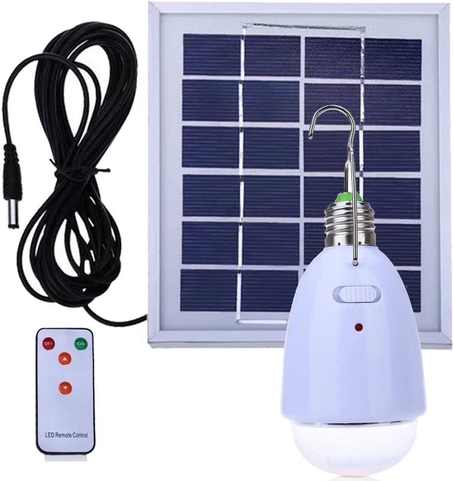 LED bombilla solar colgante E27 base 12-LED Dimmable luz al aire libre multi-funcional panel solar alimentado con control remoto para acampar ir de excursión a casa de iluminación de emergencia: Amazon.es: Iluminación