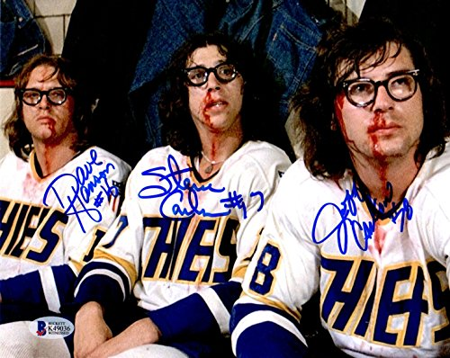 Beckett-BAS Autographed Signed The Hanson Brothers Slap Shot Movie Photo Photograph on Bench