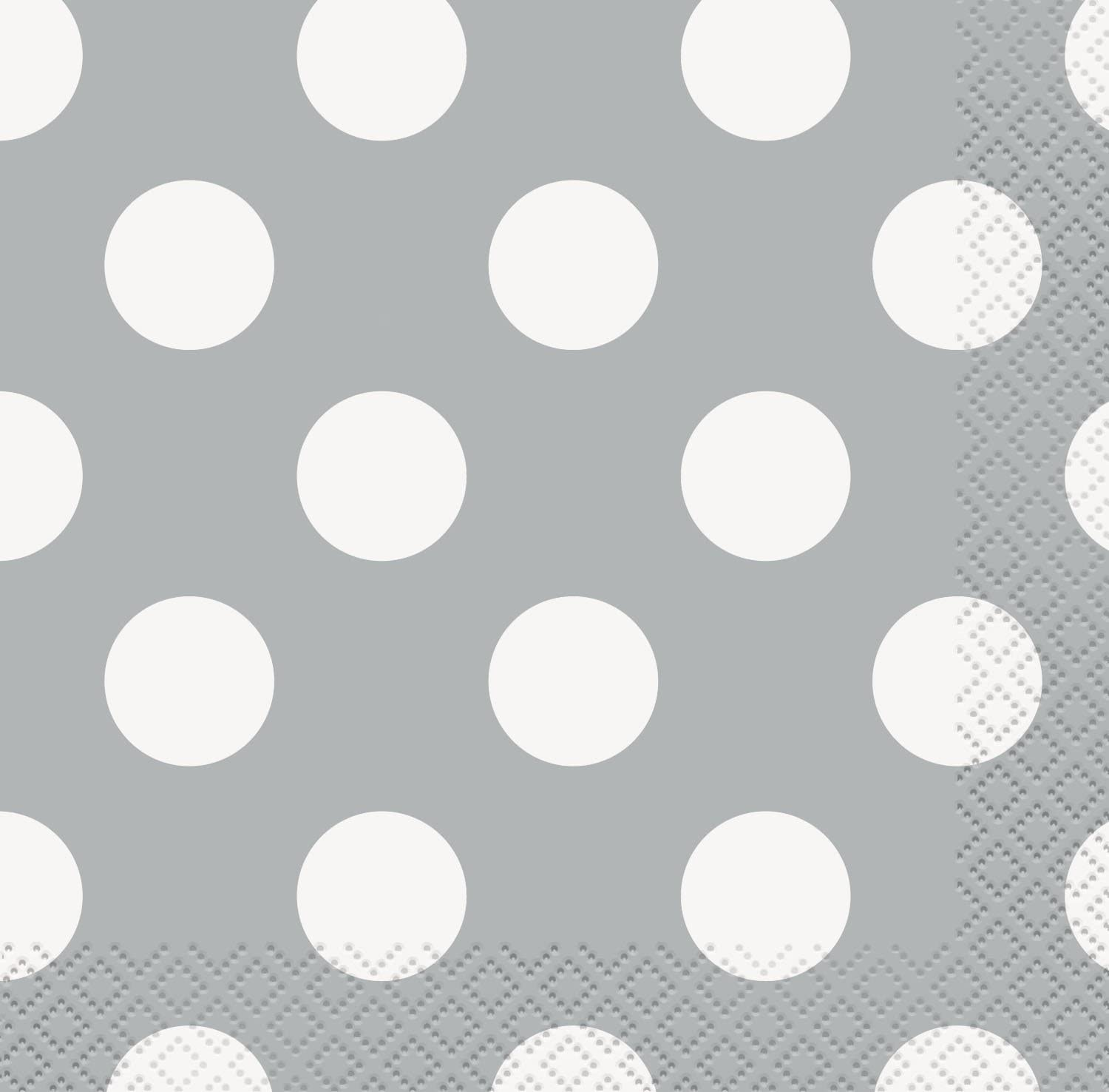 Unique Disposable Polka Dot Beverage Napkins, DIY Party Supplies, Pack of 16, Silver