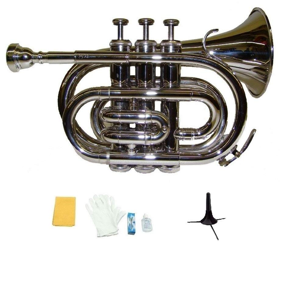 Merano B Flat Silver Nickel Pocket Trumpet with Case+Mouth Piece;Valve oil;A Pair Of Gloves;Soft Cleaning Cloth+Stand by Merano