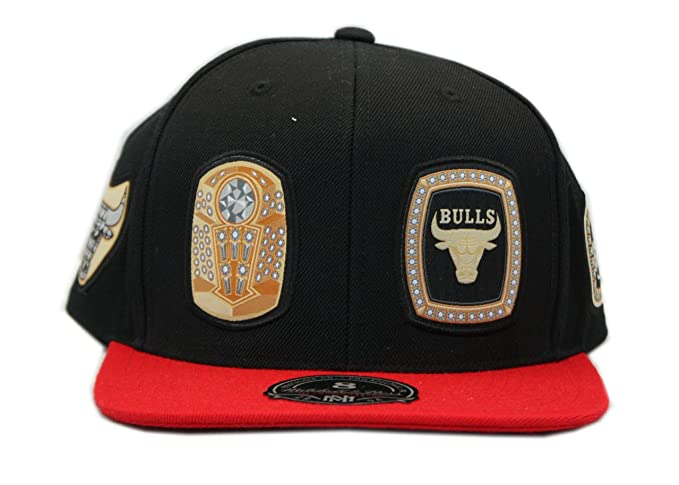 new style c6b54 ee87c Mitchell   Ness NBA Chicago Bulls Rings High Crown Fitted Black with RED CAP  (6