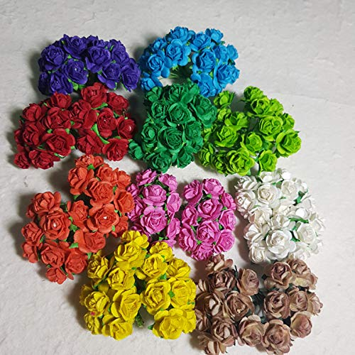 DOWDEGDEE 100 pcs Handmade Mulberry Paper Rose Flower 1 cm Craft Scrapbooking Scrapbook Bow Wedding Doll House Supplies Card 10 Colors Mixed.