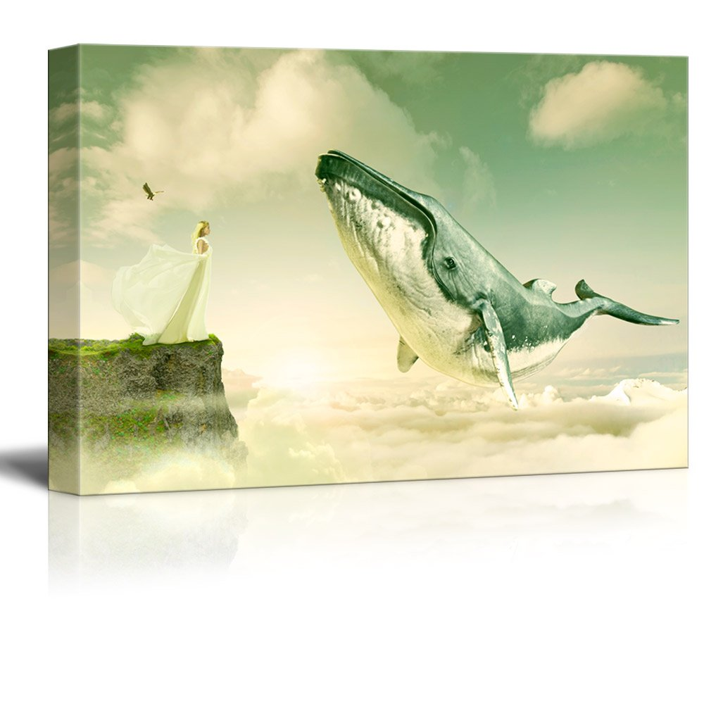 wall26 Canvas Wall Art - Fantasy Series - Girl on and Cliff with a ...