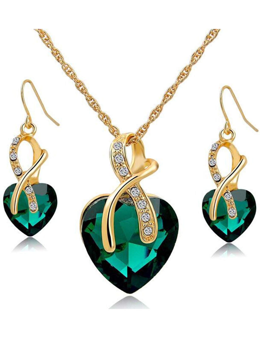 Gift! Gold Plated necklace Sets For Women Crystal Heart Necklace Earrings Jewellery Set Bridal Wedding Accessories (Green)