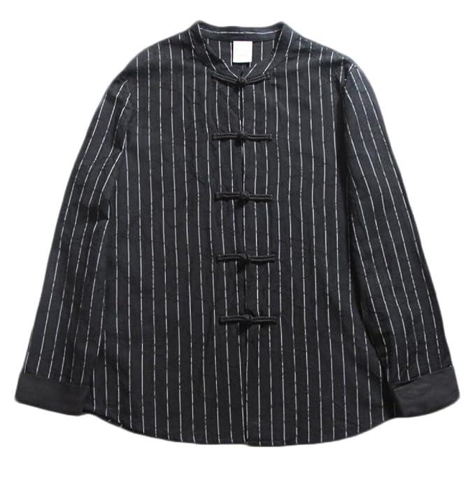 GHGJU Camisa De Manga Larga para Hombres Blusa Casual De Cuello Camisa De Algodón De Rayas
