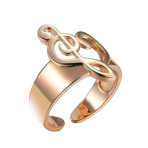 Fengteng Charm Damen Ringe Herz Noten Ring Gold Farbe ...
