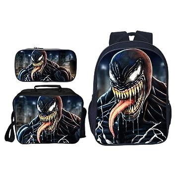 JKAINI Mochila para Niños Mochila De Impresión 3D Venom Mochila Escolar De Tres Piezas,F-OneSize