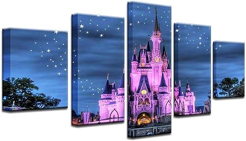 Cinderella Castle Disney World Magic Kingdom 5 Panel Canvas Print Wall Art 16x24x2,16x32inx2,16x40inx1