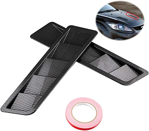 ABS Car Shark Style Hood Vent Scoop Hood Side Vent Louver Cooling Panel Mount