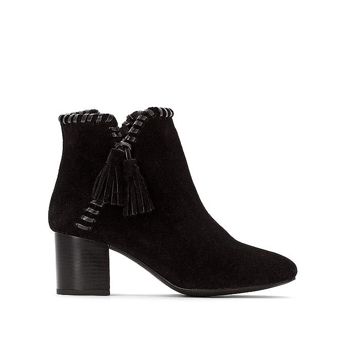 05c54186af9 Castaluna Womens Wide Fit Plaited Nbsp Tassel Leather Ankle Boots Black  Size 38