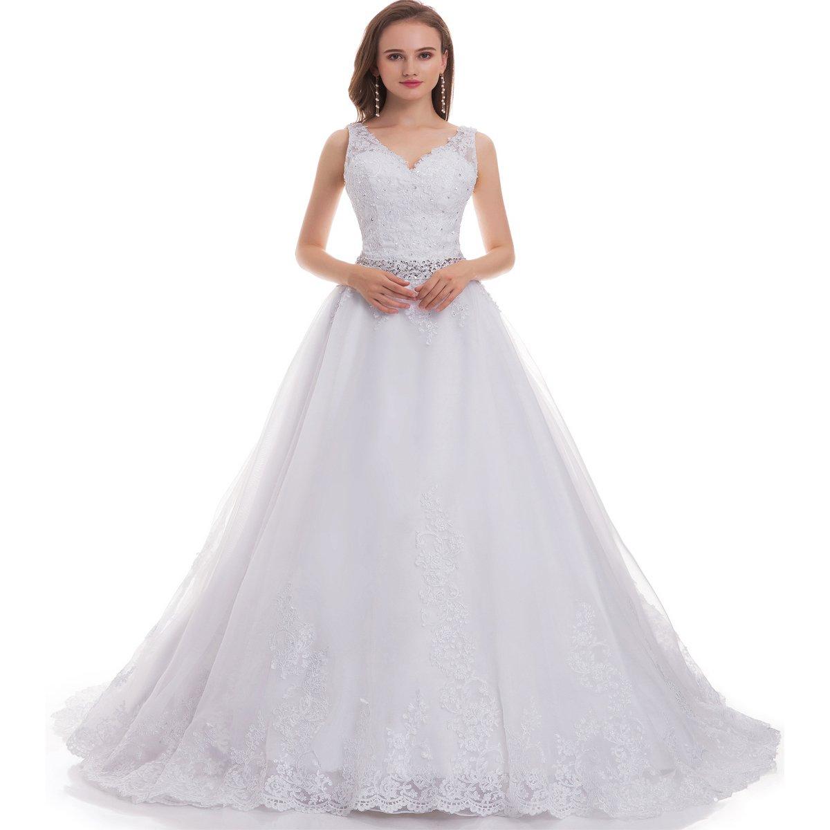 Fair Lady Women's Double V-Neck Lace Applique Empire Chapel Train Wedding Dress White 4