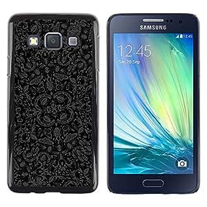 TECHCASE**Cubierta de la caja de protección la piel dura para el ** Samsung Galaxy A3 SM-A300 ** Wallpaper Butterflies Bugs Nature Art Grey Black