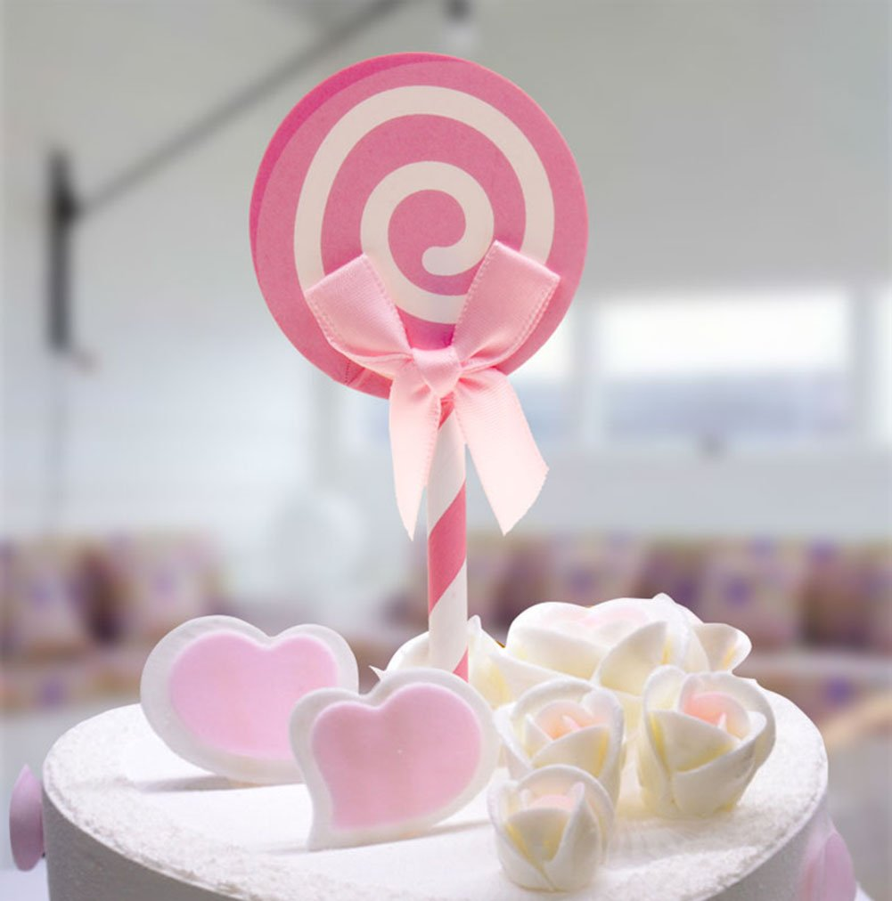 12pcs Pink Bowknot Cupcake Toppers Wedding Girl Baby Shower Happy ...