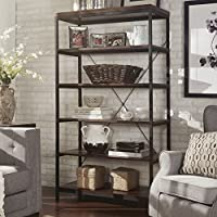 Industrial Rustic Style Black Metal Frame 6 Tier 40 inches Horizontal Bookshelf Storage Media Tower | Dark Brown Finish, Living Room Decor - Includes Modhaus Living Pen (40-inches wide)