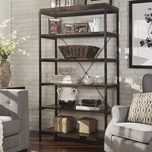 ModHaus Living Industrial Rustic Style Black Metal Frame 6 Tier 40 inches Horizontal Bookshelf Storage Media Tower | Dark Brown Finish, Living Room Decor – Includes Pen (40-inches Wide)